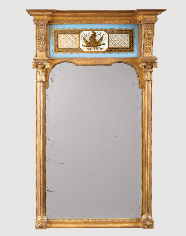 """An Unusual Regency Verre Eglomise Mirror.  Height   86"""""""