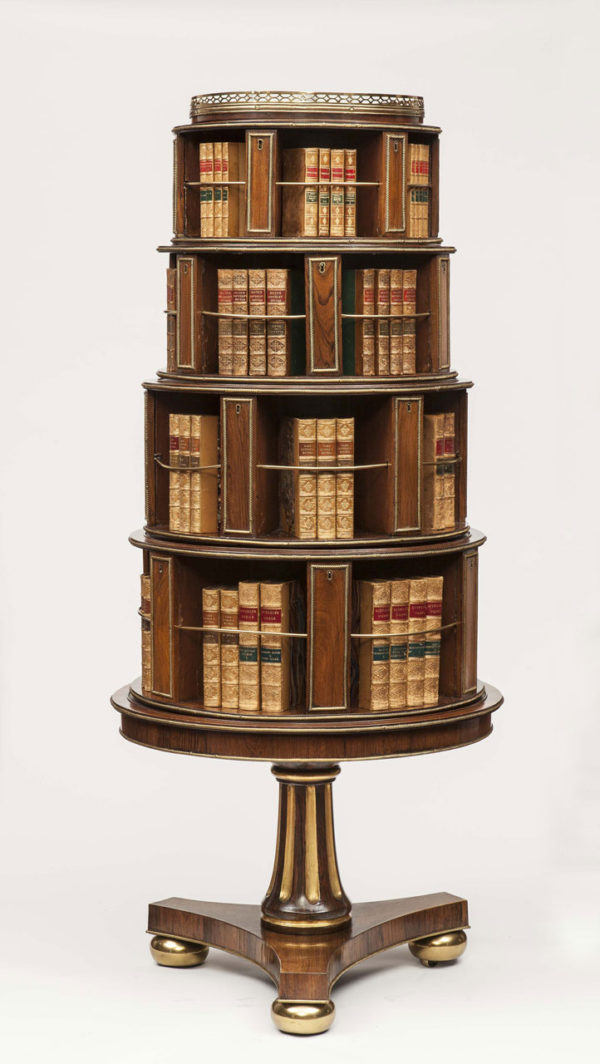 Lord Hesketh's Regency Rosewood & Parcel Gilt Revolving Bookcase from Easton Neston