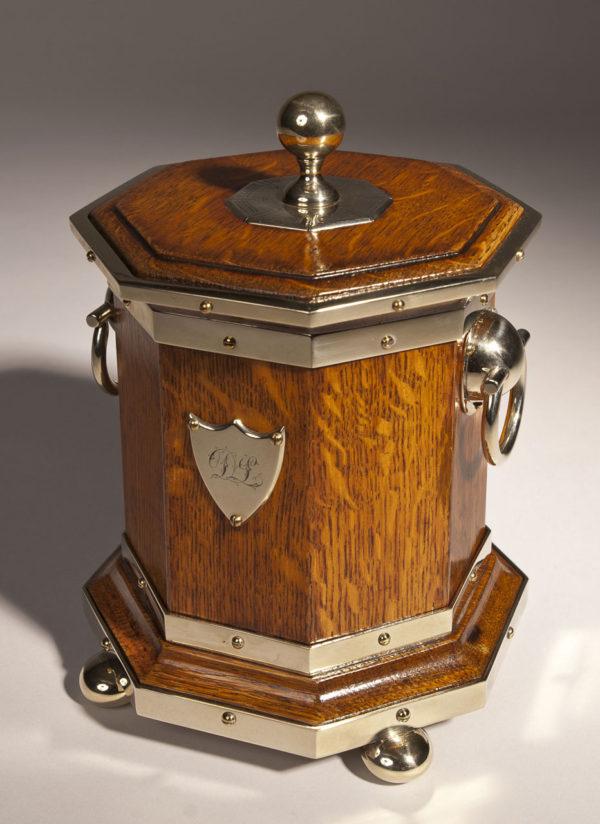 A Victorian Octagonal Oak and Brass Bound Caddy