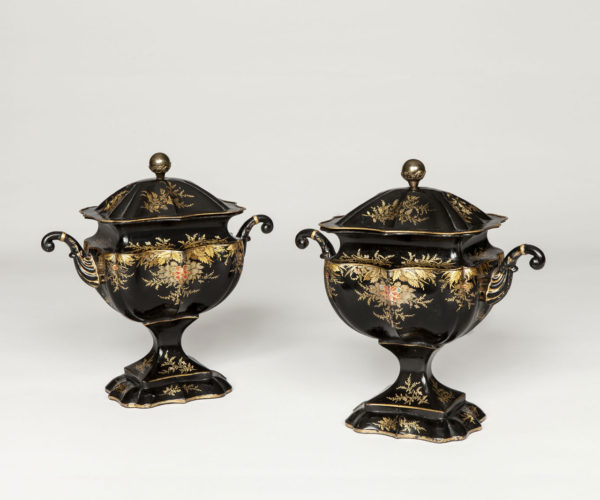 A Rare Pair of Regency Period Tole Chestnut Urns