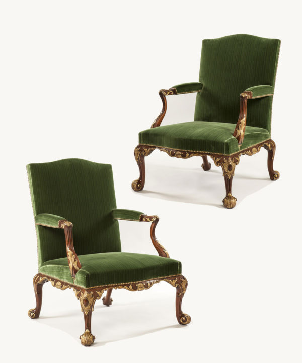 A Pair of George III Mahogany Library Armchair Attributed to Paul Saunders