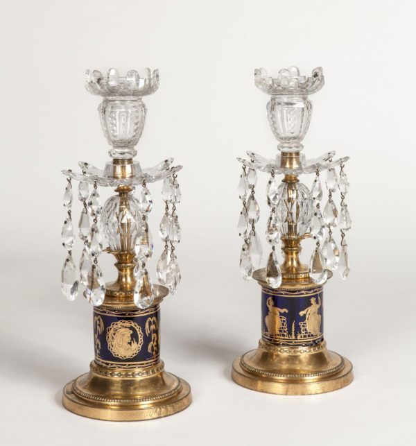A Pair of George III Ormolu and Glass Lustres