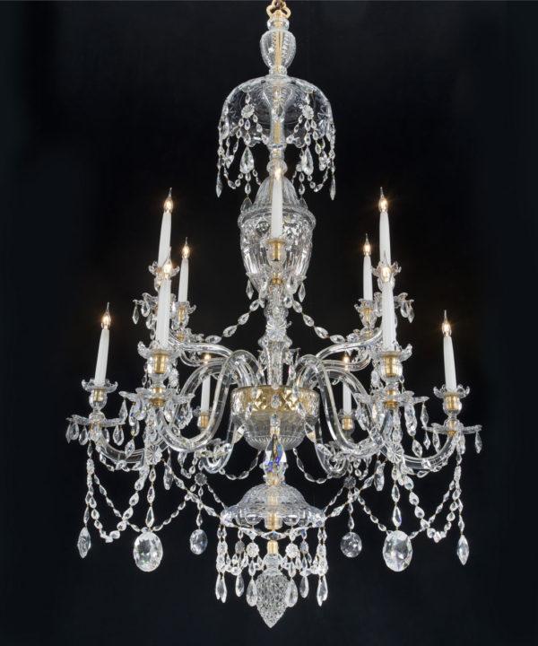 A George III Adam Period Cut Glass 12 Light Chandelier