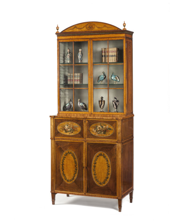 A George III Polychrome Decorated Bookcase Attributed to Seddon