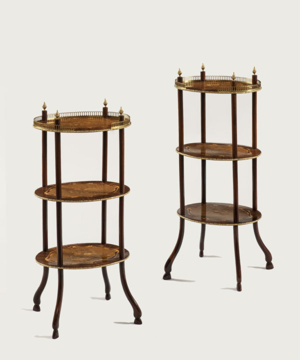 A Pair of Nineteenth Century Marquetry Inlaid Etageres